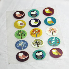 15Pcs Bird&Tree Offset Press Iron-on Patches for Clothing Offset PET Transfer DIY Scrapbooking Materails Patches   >USD8