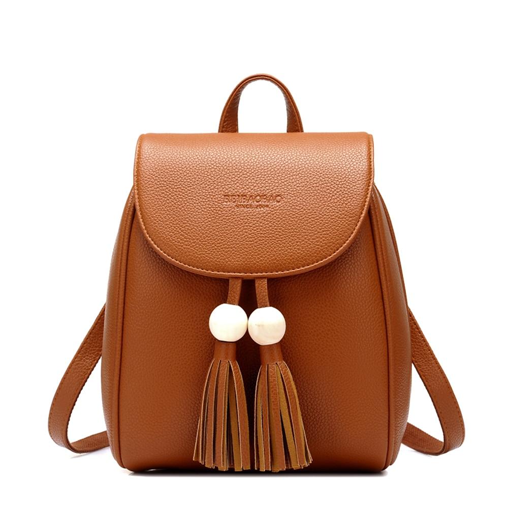 Fashion Women Lovely PU Leather Tassel Backpack Small Shoulder Bag Lady Brief Design Bag Casual Daypack Mochila <br>