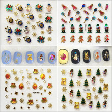 24pcs/lot snowflake Christmas Design 3d Beauty Sticker for Nails Decal Decorations Manicure Tips Beauty Nail Art Sticker(China)