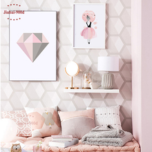 Pink Diamond Canvas Art Print Painting Poster, Watercolor Girls Wall Pictures For Home Decoration, Frame not include YE110(China)
