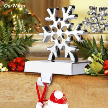 Ourwarm 3D Christmas Stocking Holder Stand Snowflake Metal Xmas Stocking Hanger for Mantel New Year Gift Christmas Decorations(China)