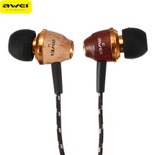 New Awei Q5 Earphone 3.5mm Super Bass Stereo Wooden Earphones For Mobile Phone MP3 MP4 Players Earbuds