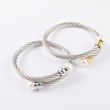Hot Sale Fashion Women's Silver Gold Pearls Clasp Twist Stainless Steel Cable Wire Rope Bracelet Cuff Bangle Pulseiras