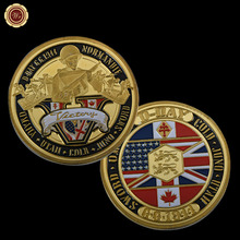 Normandie War 70-year Anniversary Gold Plated Coin Military Medal 40*3 Challenge Coin Souvenr American Coin(China)