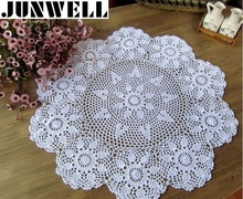 60/ 70/ 80CM RD Shabby Chic 3 Sizes Vintage Crocheted Tablecloth Handmade Crochet Coasters Cotton Lace Cup Mat Placemat(China)