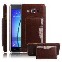 Vintage PU Leather Case For Samsung Galaxy On 5 Cell Phone Cases & Bags With Card Holders Original Back Cover Capa Fashion Brown