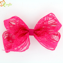 16pcs/lot  5'' Messy Lace Bow For Infant/Baby Girls Lace Hairbow Children Hair Accessories
