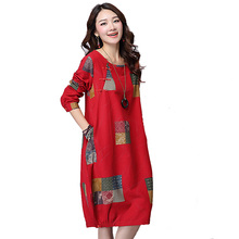 Hot sale 2016 Spring Linen fashion women dress Loose long-sleeved O-neck Print Plus size M-XXL Casual dresses