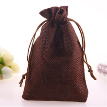 New Design Wholesale 5pcs/lot Linen Jute Drawstring Gift Bags Favor Party Sack Packaging Linen Wedding Candy Pouches(China)