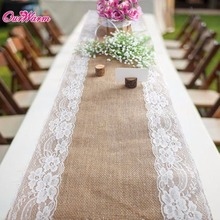10pcs 30x275cm Burlap Lace Table Runner Vintage Hessian Natural Jute Country Party Wedding decoration