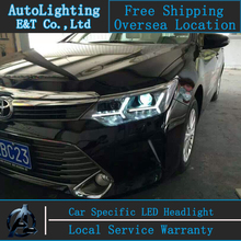 Car styling Head Lamp for New Camry led headlights 2014-2015 Toyota camry led drl H7 hid Bi-Xenon Lens low beam(China)