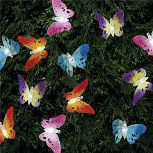 12 Led Solar Powered Butterfly Fiber Optic Fairy String Outdoor Garden Lights(China)
