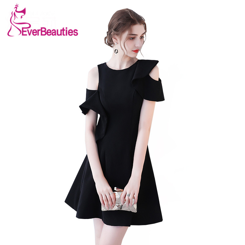Robe De Soiree Short Evening Dresses 2019 Black Prom Dress O-Neck Avondjurk  New Little Black Dresses Evening Gowns
