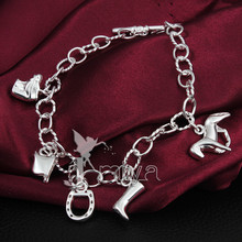 "Silver Horse Bracelet Fashion Horse Jewelry Women 2017 Top Quality Length 20cm/7.9""  With 5 Charms"
