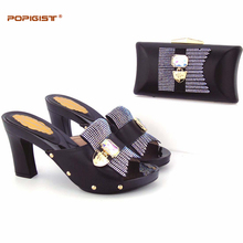 Black Free DHL PU Leather lady evening Shoes And Bag Set Summer Fashion Simple design Pumps Shoe And Bag Set For Party