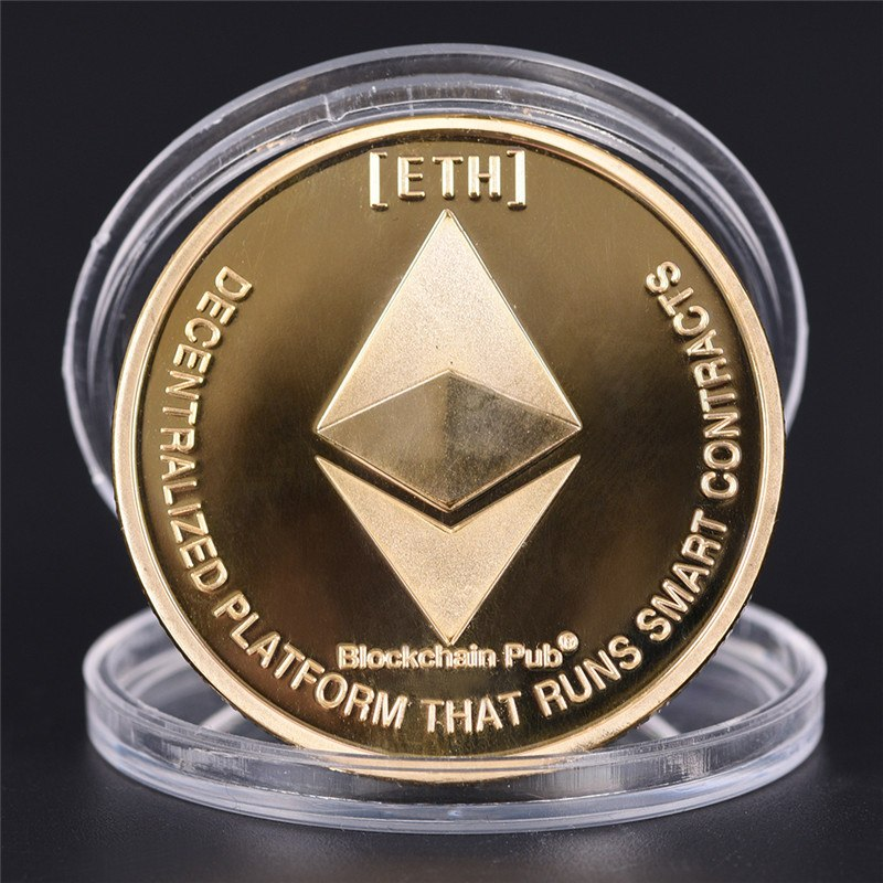Hot Sale Silver Gold Plated Coin Collectible Gift ETH Ethereum Miner Coin Art Collection Gold Silver Commemorative Coins