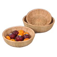 Bamboo fruits vegetables storage handmade Weaving Storage Basket Bamboo Wicker Bread Basket snack Hamper Vintage home decorate(China)