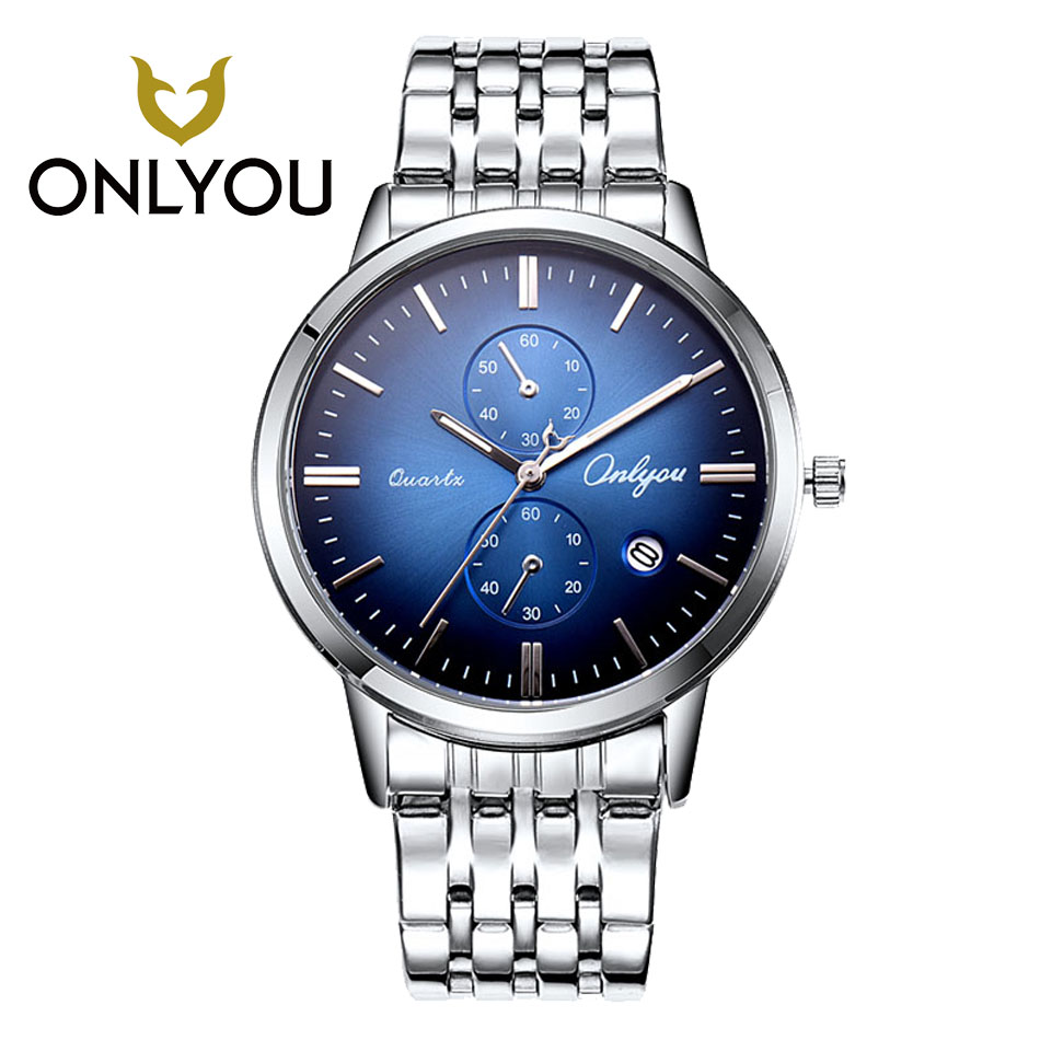 ONLYOU hot sell lover Golden Watch Men Watches Luxury Famous Wristwatch women Male Ultra-thin Clock Quartz Wrist Watch Calendar<br>