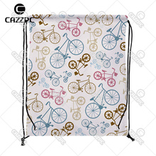 Vector Bicycle Texture Pop Art Print Custom individual Nylon fabric Drawstring Backpack Gift Bag Pack of 4