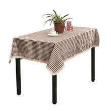 Plaid Brown Pink Table Cloth Cover Lace Edge Dining Cotton Linen Table Cloth Dustproof
