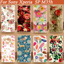 Newest Fashion Flower Painted Hard Plastic Cover Case For Sony Xperia SP case M35H C5303 C5306 Mobile Phone Cases