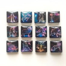 Free shipping(12pcs/lot) 3cm Square Novalty 12 Constellation Fridge Magnet for Party Gift Cute Message Holder Kitchen/Home Decor(China)