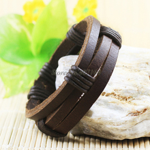 SF228-free shipping NEW product ethnic men's jewelry handmade wristband genuine leather bracelet for women unisex men bracelet(China)