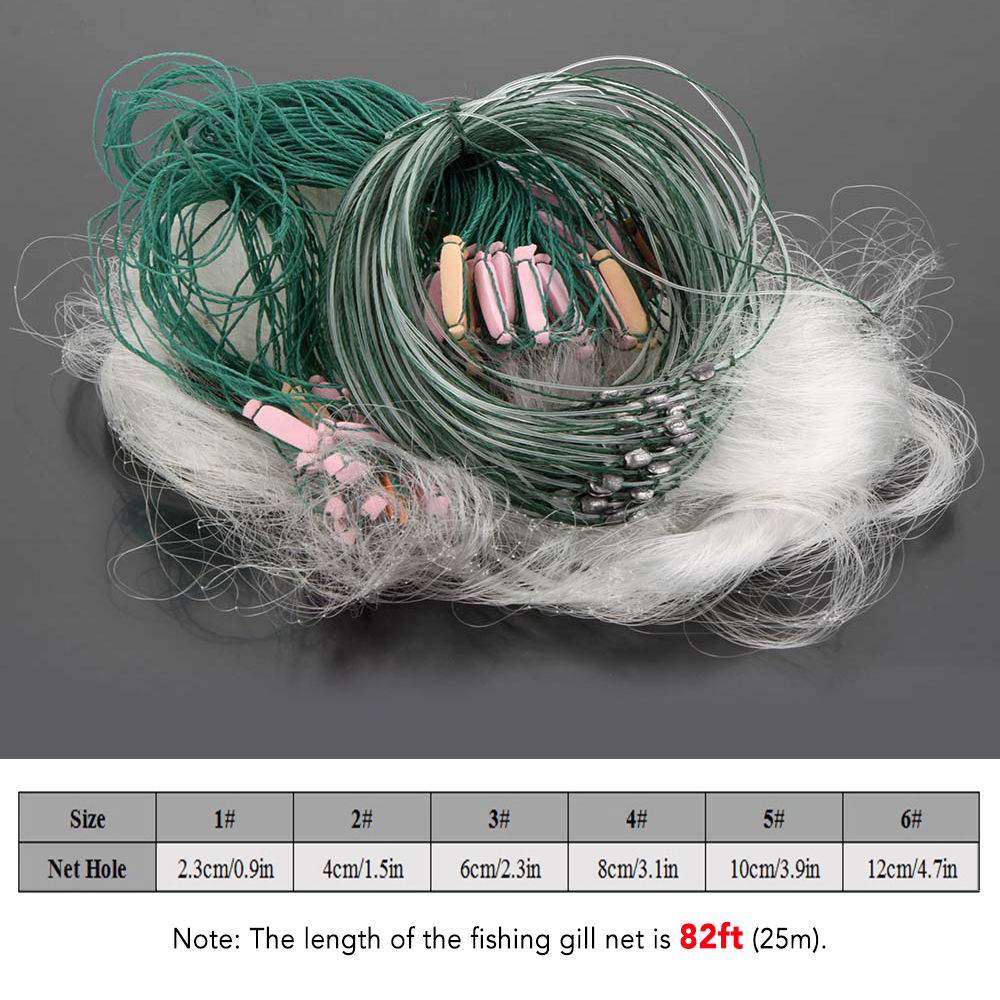 VORCOOL Monofilament Fishing Gillnet Fishing Net with Floating Fish Gillnet Traps 25 m 1 Layers