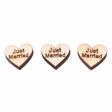 "50 Pcs 20 mm Wooden Heart Buttons ""Just Married"" Letter NO Hole Scrapbooking Sewing Wood Buttons Sewing Accessories Craft(China)"