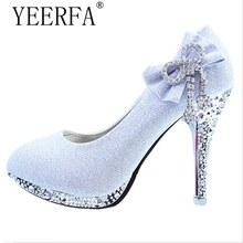 YIERFA Wedding Shoes Butterfly-knot Bridal Shoes Rhinestone Lace Ladies Shoes High Heels Platform Women Pumps White Size 34-41(China)