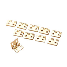 10Pcs Brass Plated Mini Hinge Small Decorative Jewelry Wooden Box Cabinet Door Hinges with Nails Furniture Accessories 10x8mm