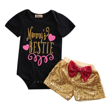 Hi Hi Baby Store Newborn Baby Girl Letter Print Short Sleeve Cotton Romper + Sequin Pants 2Pcs Outfits(China)