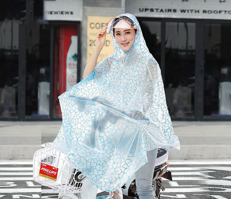 Single person/Electric car/hat / waterproof raincoat / men / women / adult / transparent battery car motorcycle poncho/161144