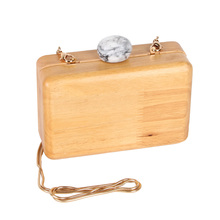 JULY'S SONG Women Wooden Shoulder Bag Evening Party Wood Box Clutch Bag Ladies Hard Case Day Clutches Minaudiere Handbag Purse(China)