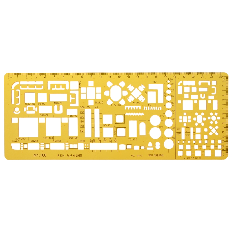 Professional Architectural Template Ruler Drawings Stencil Measuring Tool Supply AUG-23A