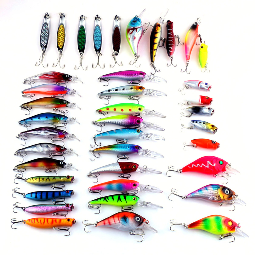 HENGJIA Brand 39pc/Lot Life-like Plastic Minnow Sequins Spinner Bait Lure Set Bass Hard Bait Plastic Hook 6 Size Fishing Tackle<br>