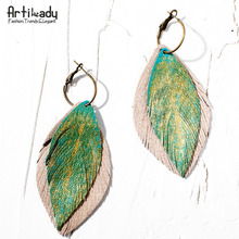 Artilady gold color paint with genuine leather earrings handmade boho earring drop earring for women jewelry gift