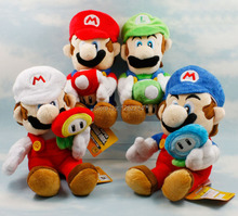 "Free Shipping 4 Styles 7"" Super Mario Plush Doll Luigi Mario Holding Mushroom And Flower Plush Figure(China)"