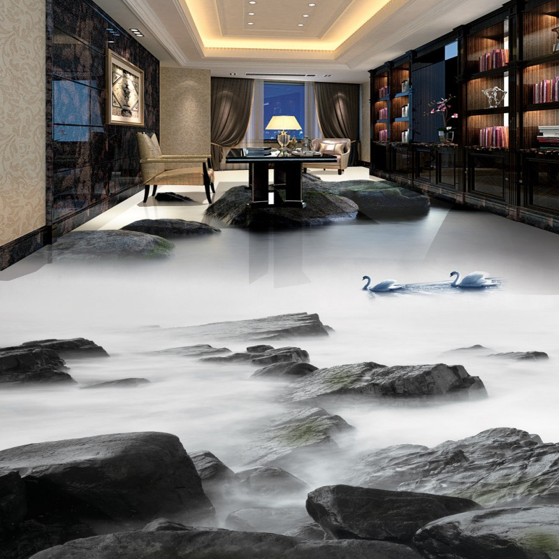 Free Shipping Stone flowing water living room bathroom decoration 3D self-adhesive non-slip floor wallpaper mural<br>