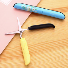Student Children safty portable folding type scissors Office cutting supplies Chinese style flower printed scissors(China)