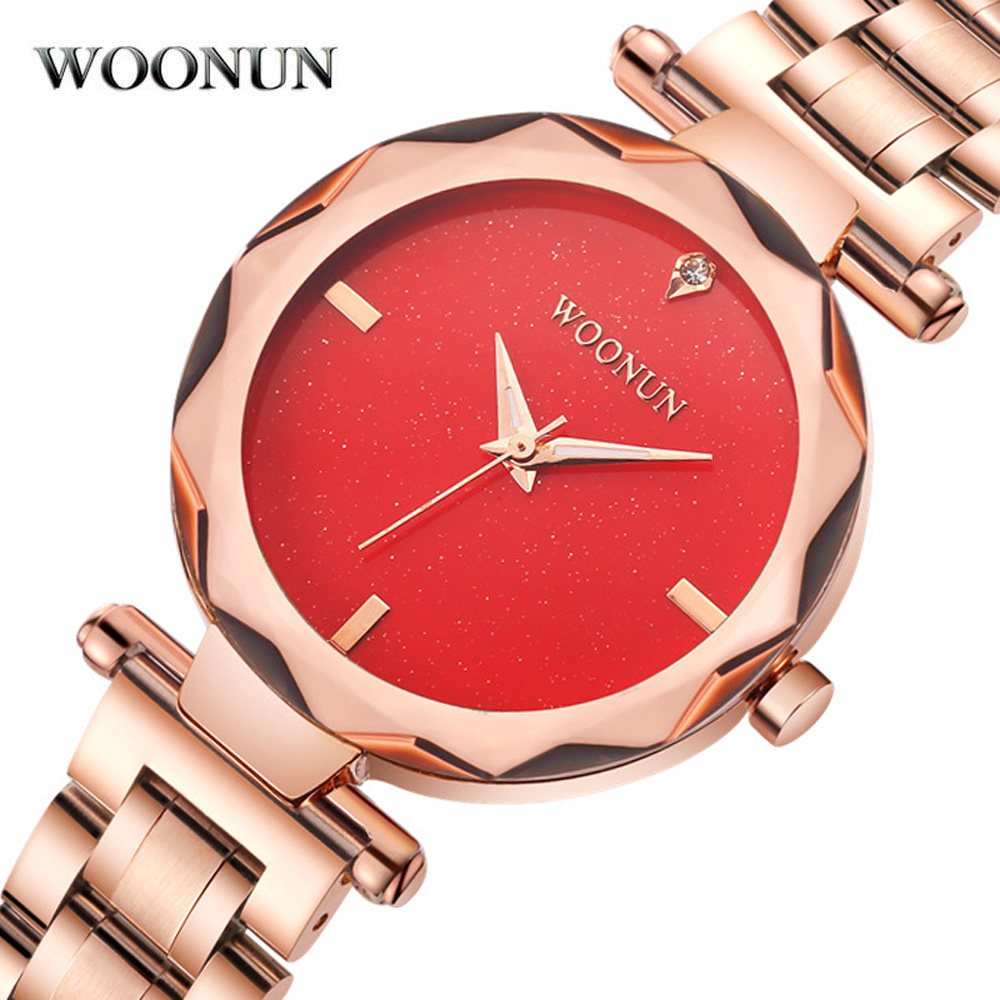 New Women Luxury Quartz Watches Top Brand Stainless Steel Rose Gold Wrist Watches Red Dial Luxury Fashion Dress Women Watches <br>