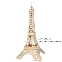 DIY 3D Wooden Puzzles Eiffel Tower Model handmade Assembling Building Kits IQ Educational Toys children Learning Educationa Toys(China)