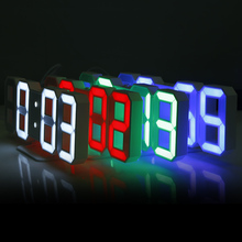 3D LED Wall Clock Digital Alarm Clocks Display 3 Brightness Levels Dimmable Nightlight Snooze Home Kitchen Office Saat Moment(China)