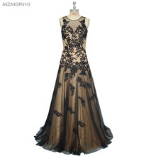 Hot Sale New Fashion A Line Scoop Neck Applique Zuhair Murad Evening Dresses 2015 Black Lace Party Dress Formal Evening Gowns(China)