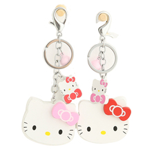 Cute Wood Hello Kitty Keychain Cartoon Animal KT Key Rings Car Purse Bag Charms Key Chain Holder Ladies Gifts Trinket Llaveros(China)