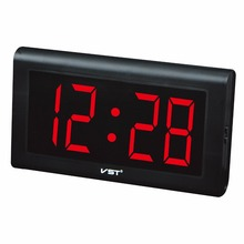 New Modern plastic table clock digital LED Wall Clock glowing numbers large Display digital clocks With EU plug luminous clock