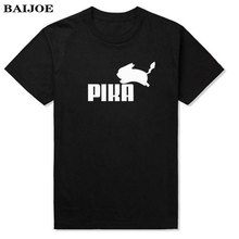 BAIJOE Fashion Lovely Pokemon T Shirt Anime Pika Men T-Shirts Pikachu Boy T Shirt Cotton Short Sleeve Plus Size Boy Tees Tops