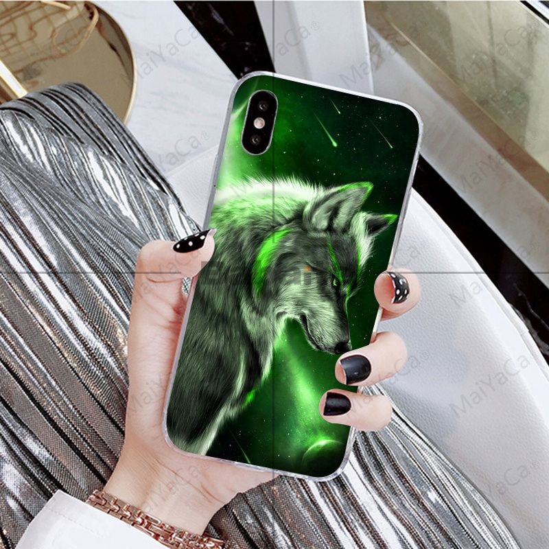 angry Animal wolf Face Pattern TPU Soft Phone Case