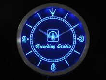 nc0370-b Recording Studio Microphone Bar Neon Sign LED Wall Clock