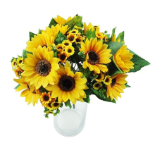 Home Decor 7 Heads Fake Sunflower Artificial Silk Flower Bouquet Wedding Floral Fashion Accessories Party 0